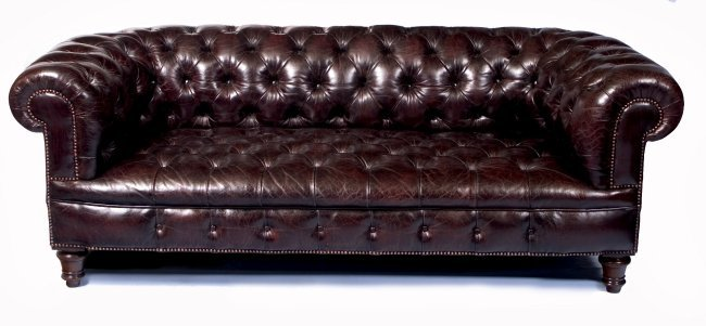 A 6ft 6 Blueberry Coloured Chesterfield