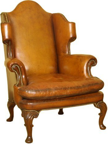A Georgian Scrolled Wing Back Chair