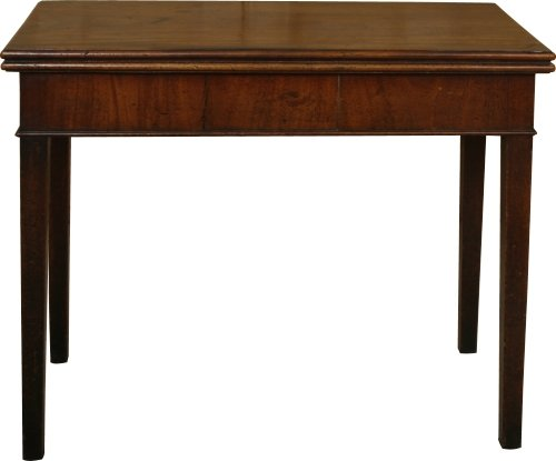 George III Mahogany side/tea table with chamfered.