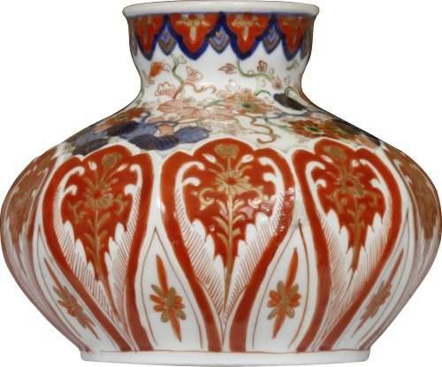 A blue gold and red balloon vase c1900