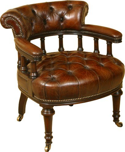 An 1860 style Victorian Deep Buttoned Captains Chair