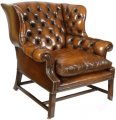 A Deep Buttoned Georgian Winged Chair