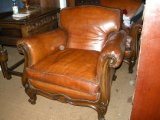 A pair of 19th Century Walnut leather armchairs
